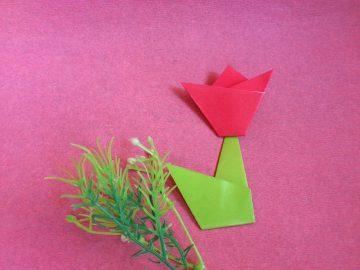 Тюльпан оригами – подарок маме на 8 марта